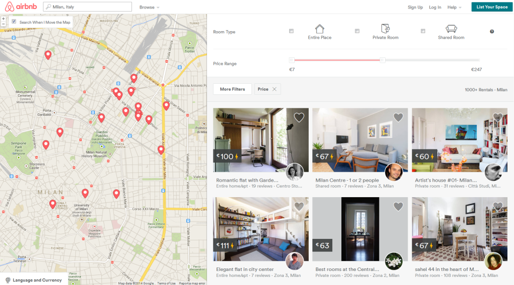 airbnb інтерфейс