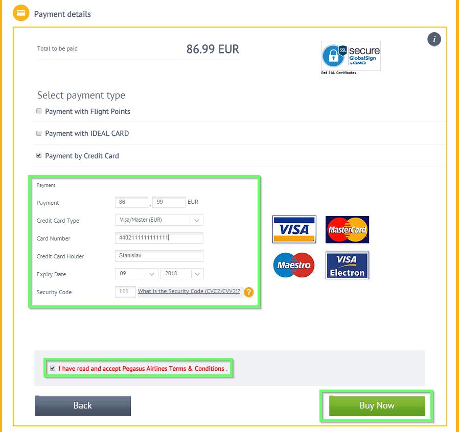 pegasus payment