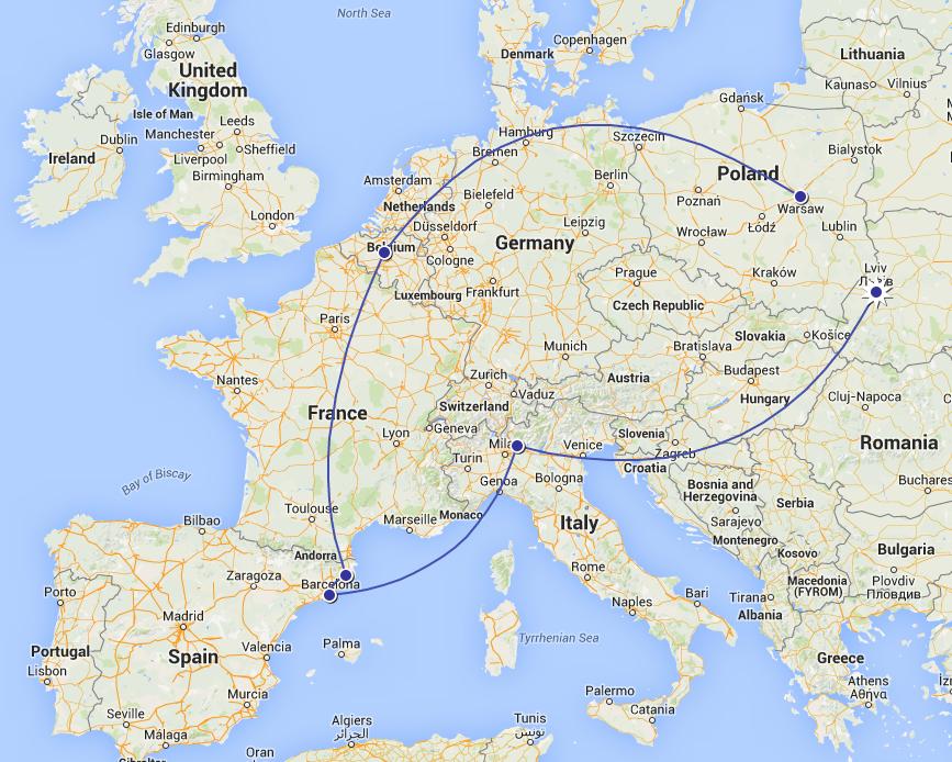 Львів – Мілан – Барселона – Брюссель
