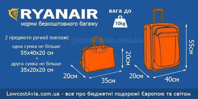 ryanair багаж безкоштовний ручна поклажа