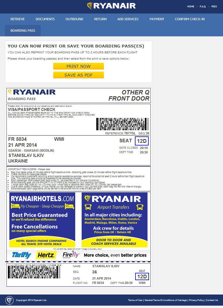 Ryanair online check-in
