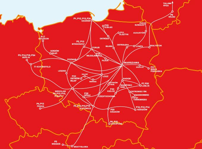 карта маршрутів polskibus