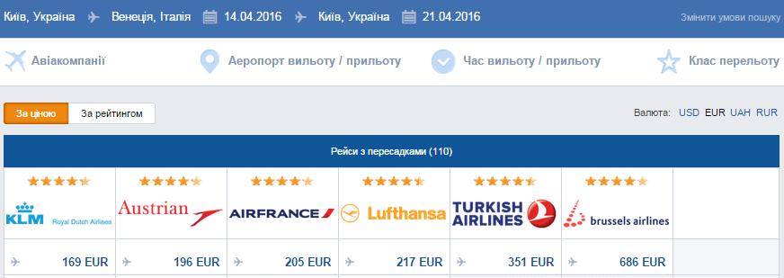 Київ - Венеція авіаквитки