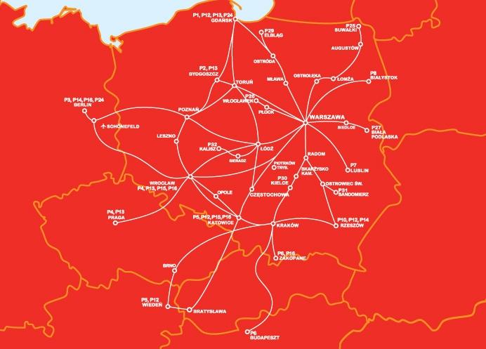 карта polskibus