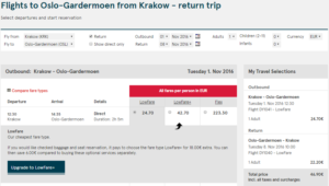 2016-05-12 14_26_34-Flights to Oslo-Gardermoen from Krakow - return trip - Norwegian.com