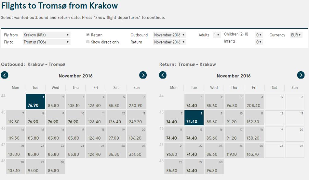 2016-05-12 15_56_19-Flights to Tromsø from Krakow - Book cheap flights to Tromsø - Norwegian.com