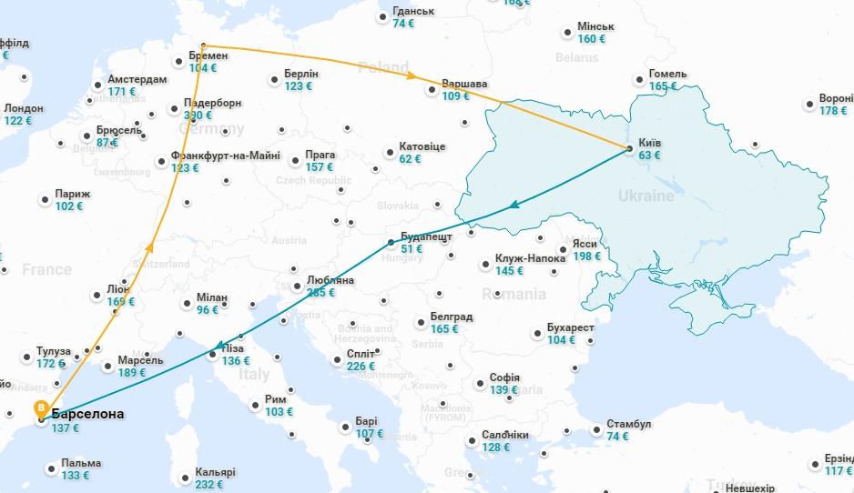 авіаквитки Барселона Київ