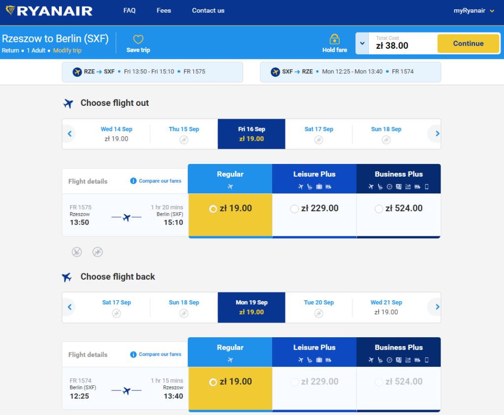 Ryanair: авиабилеты из Жешува в Берлин за 4€!