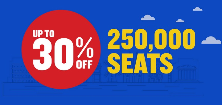 Ryanair: 250000 авиабилетов со скидкой 30%! -