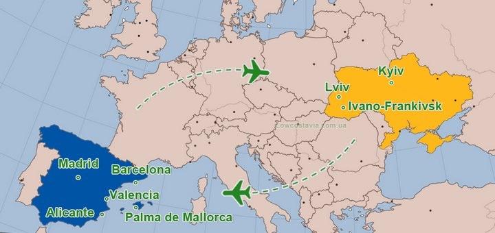 Все прямые авиарейсы Украина - Испания в 2019 году! -