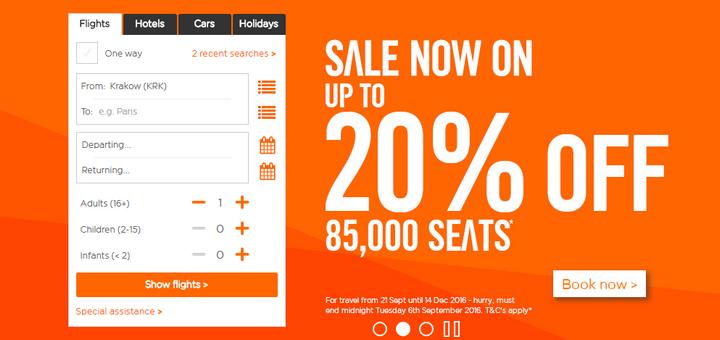 Распродажа в EasyJet и Wizz Air: авиабилеты со скидкой 20% для всех!