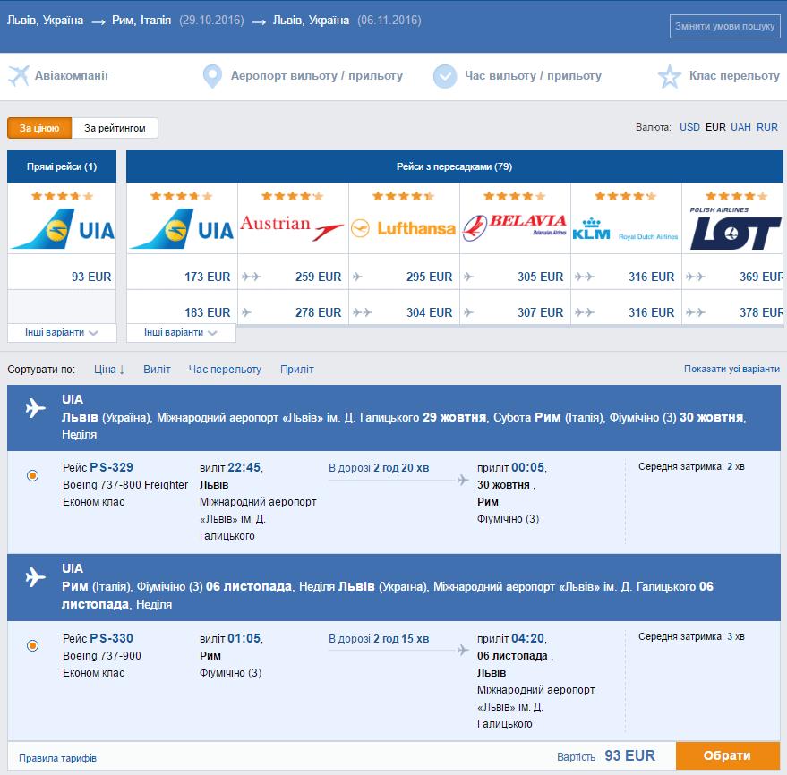 Хит! Дешевые авиабилеты Львов - Рим - Львов от 93€ в две стороны!