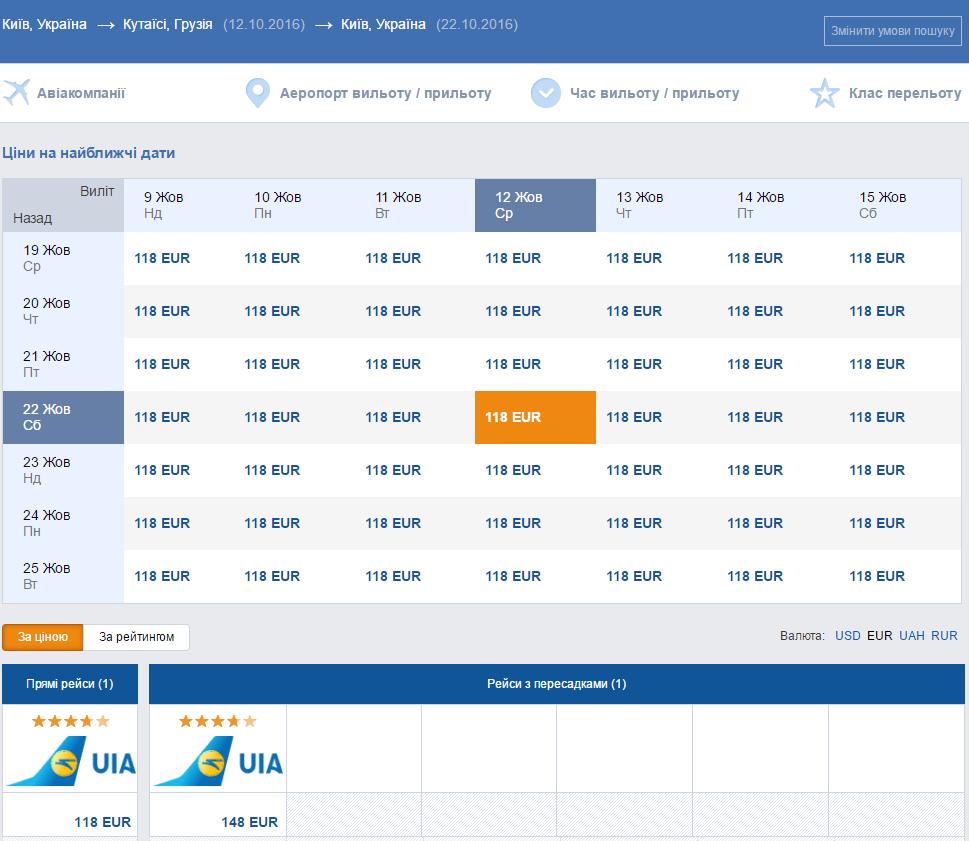 авіаквитки Київ кутаїсі
