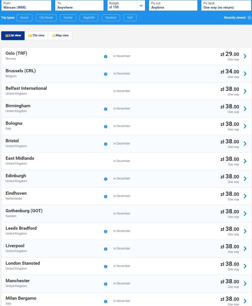 Ryanair: распродажа авиабилетов от 9€ на 999 рейсов по Европе! -