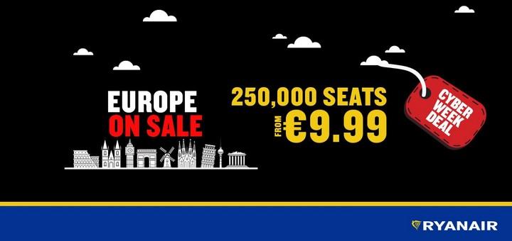 Ryanair: 250000 авиабилетов от 9€ в одну сторону! -