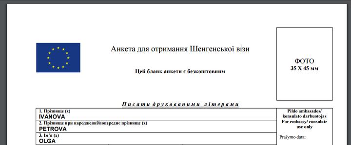 візова анкета Литва