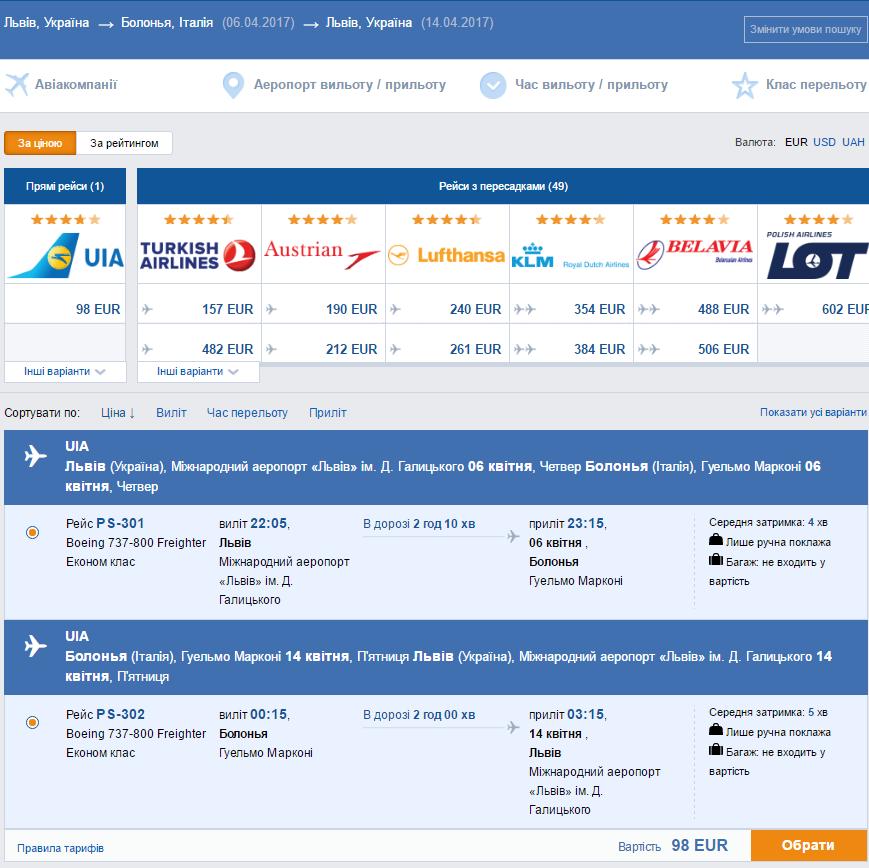 Прямые рейсы из Львова в Рим и Болонью от 98€ в две стороны!