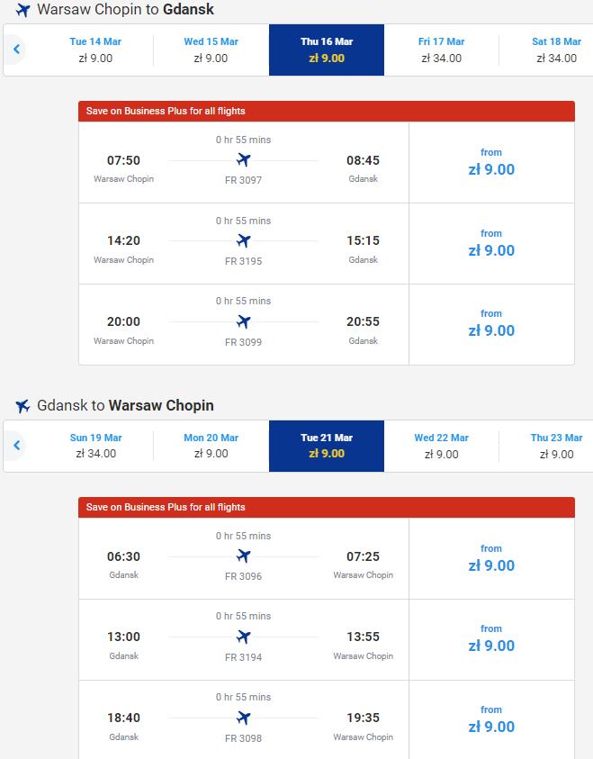 Ryanair: авиабилеты из Варшавы во Вроцлав и в Гданьск за 2€!