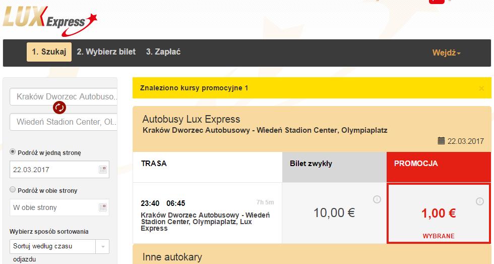 Lux Express: автобусные билеты из Польши по 1 и 2 евро! -