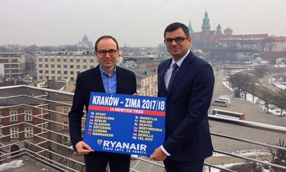 Ryanair открывает 14 новых рейсов из Кракова в 2017 году!