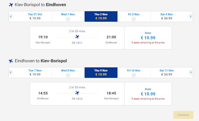 квитки Ryanair з Києва