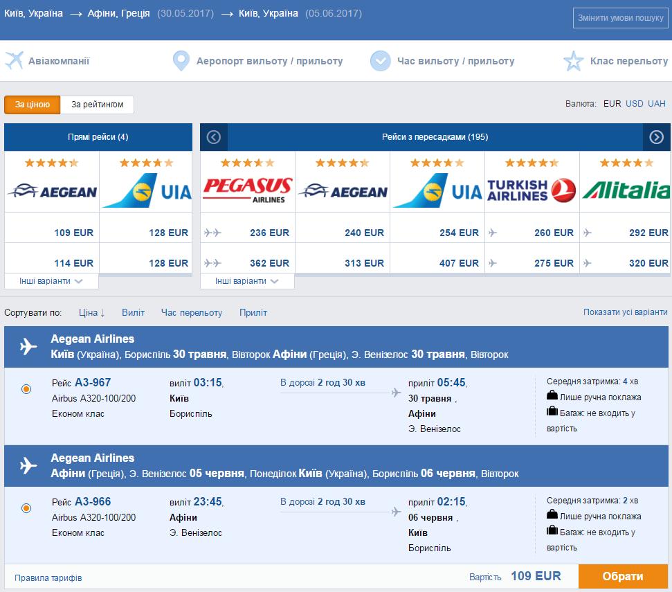 Авиабилеты Киев - Афины - Киев от 109€ в две стороны!