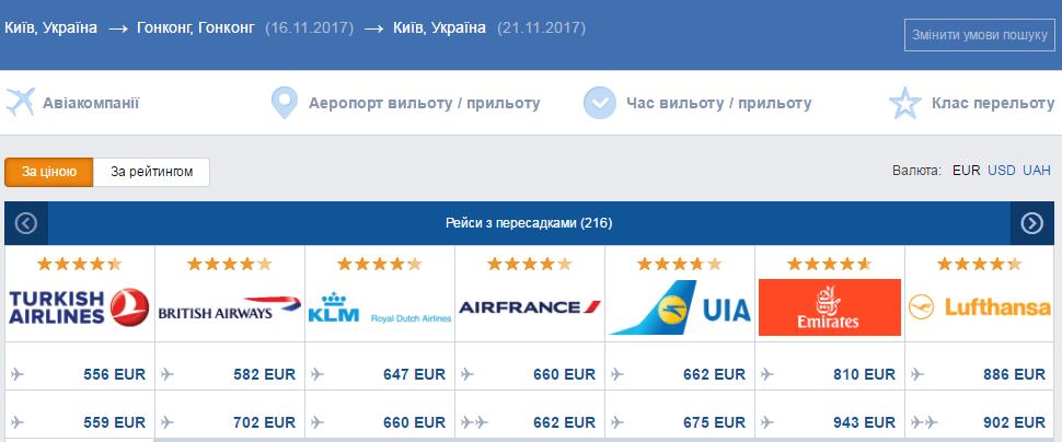 авіаквитки київ гонконг
