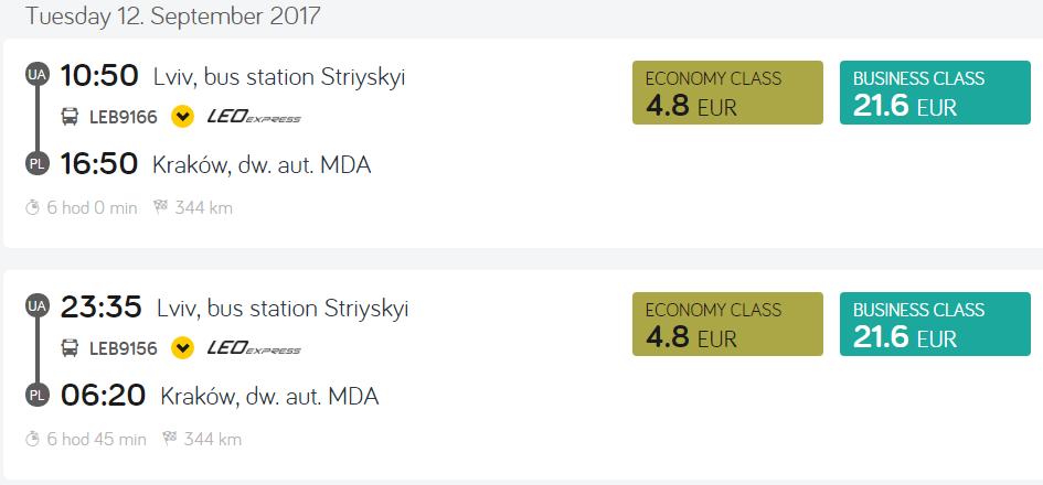 Львов - Краков от 4,8€, Львов - Прага от 18€ в одну сторону от LEO Express! -