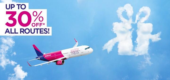 Скидка 30% от Wizz Air на все рейсы для Всех! -