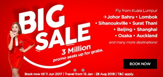 Распродажа AirAsia Big Sale: авиабилеты от 4$ в одну сторону! -