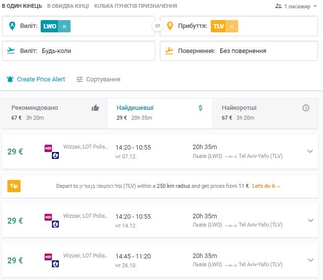 Дешевые авиабилеты из Львова в Тель-Авив от 29€ в одну сторону!