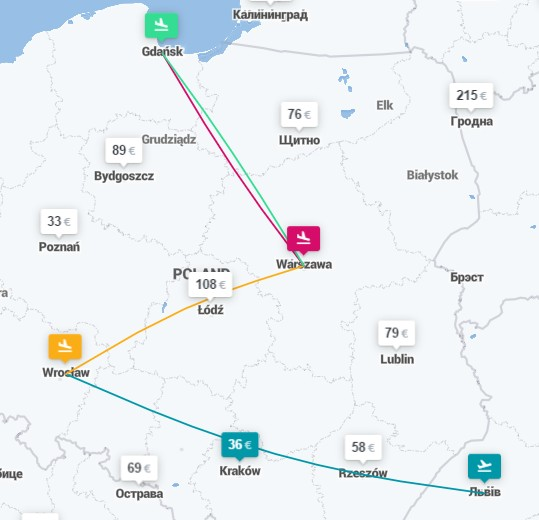 Львов ✈ Вроцлав ✈ Варшава ✈ Гданьск ✈ Варшава - 4 авиабилеты за 38€ в июле! -