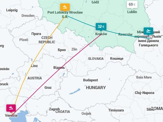 Львов ✈ Вроцлав ✈ Венеция ✈ Краков - 3 авиабилеты за €82 в июле!
