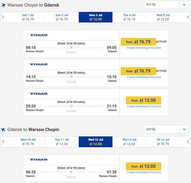 Ryanair: авиабилеты из Варшавы в Вроцлав и Гданьск от 12 злотых (84 грн) в июле! -