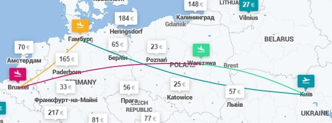 Киев ✈ Гамбург ✈ Брюссель ✈ Варшава ✈ Киев - 4 авиабилеты за €67!