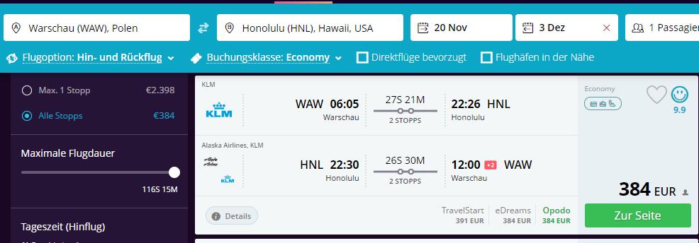 Авиабилеты на Гавайи из Польши от €390 в две стороны! -
