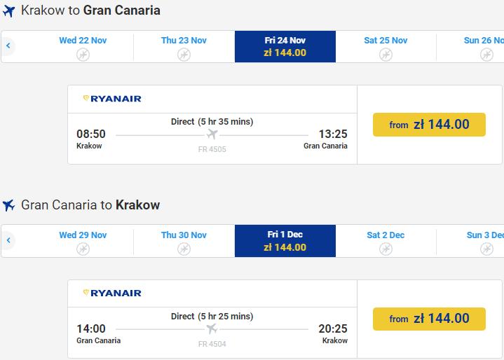 Прямые рейсы на Канарские острова от €68 в две стороны из Кракова!
