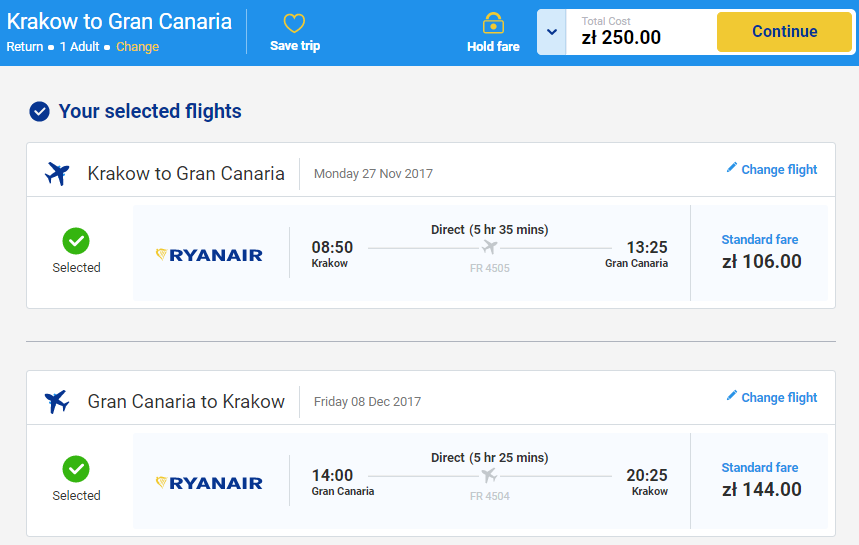 Хит! Авиабилеты на Канарские острова от €58 в две стороны из Польши!