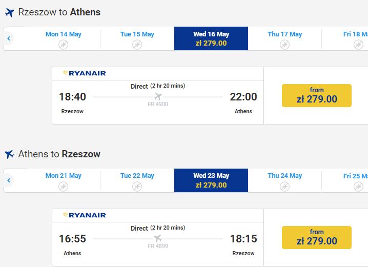 Ryanair открывает новые рейсы в Афины из многих городов Польши! Также с Ряшев! -