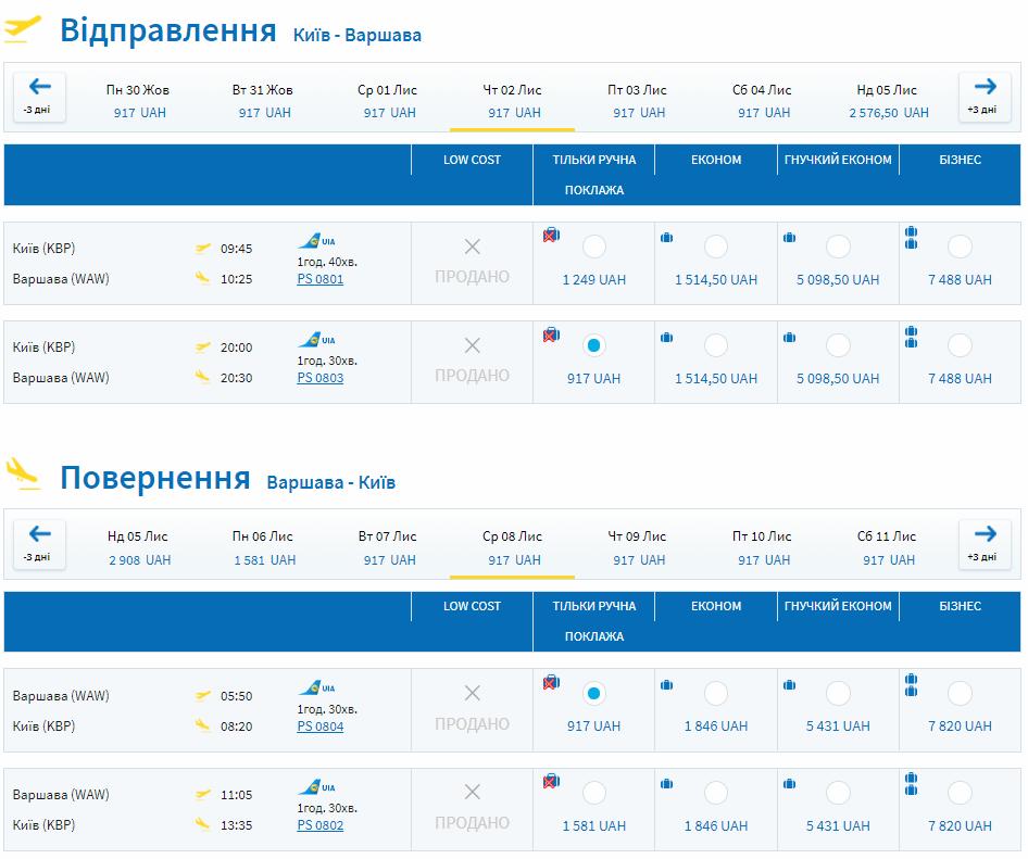 Киев - Варшава от €58 (1834 грн) в две стороны еще этой осенью и от €33 в 2018 году! -