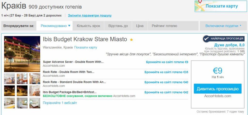 Дешевые отели в Польше Ibis budget от 9€ (287 грн) за ночь на 2х!