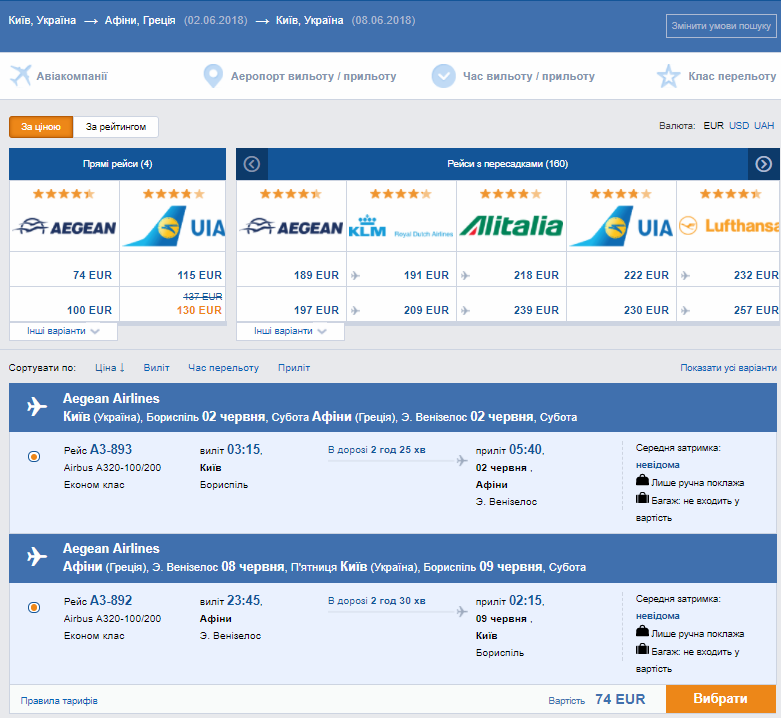 Aegean Airlines: авиабилеты Киев - Афины от €74 в две стороны!