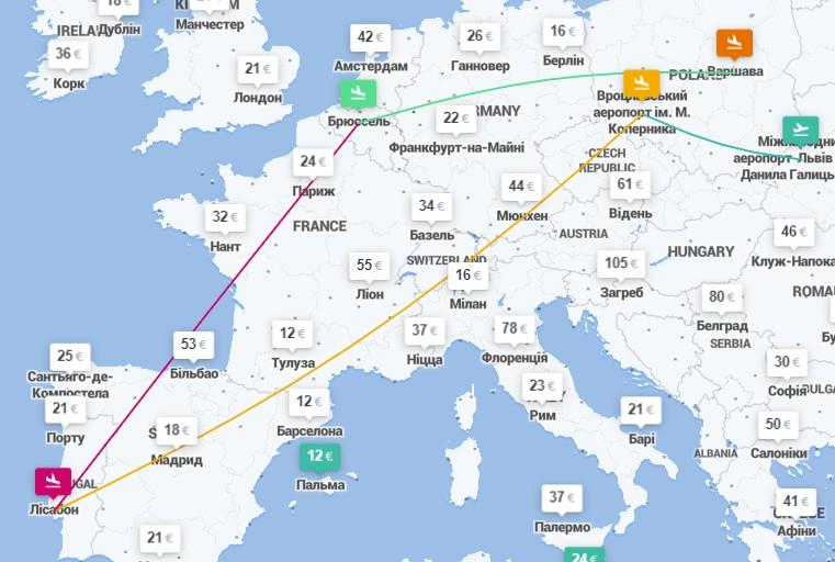 Львов ✈ Вроцлав ✈ Лиссабон ✈ Брюссель ✈ Варшава – 4 авиабилеты за €73! -
