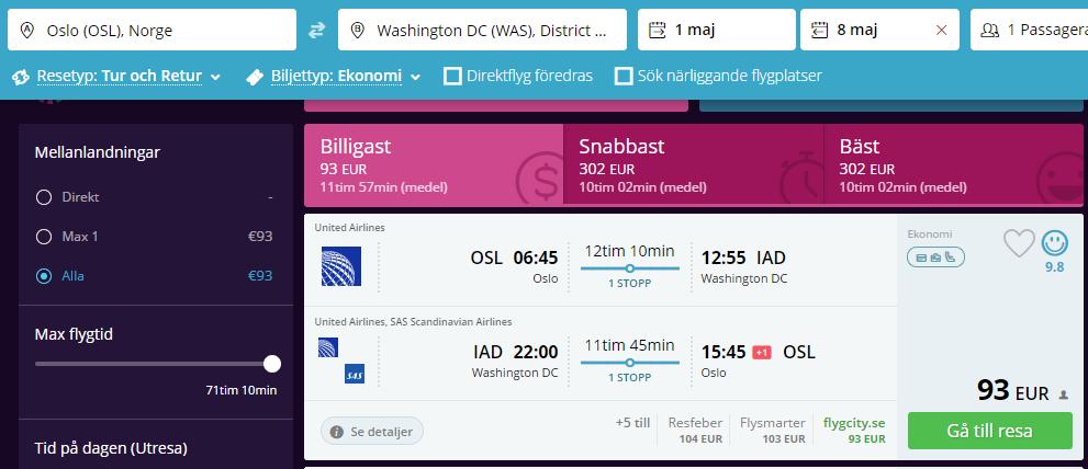 Супер! Дешевые авиабилеты в США из Стокгольма или Осло от €93 в две стороны!