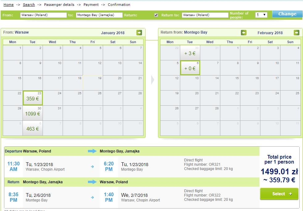 Авиабилеты Варшава - Монтего-Бей (Ямайка) от €359 в две стороны! Визы не нужно!