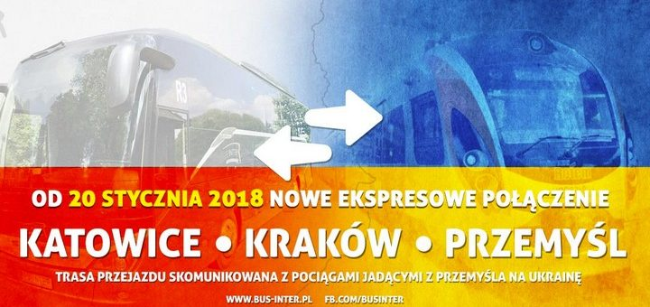 Новые рейсы от перевозчика Bus-Inter из Перемышля в Краков и Катовице, прив'привязкой к прибытию поездов Intercity!