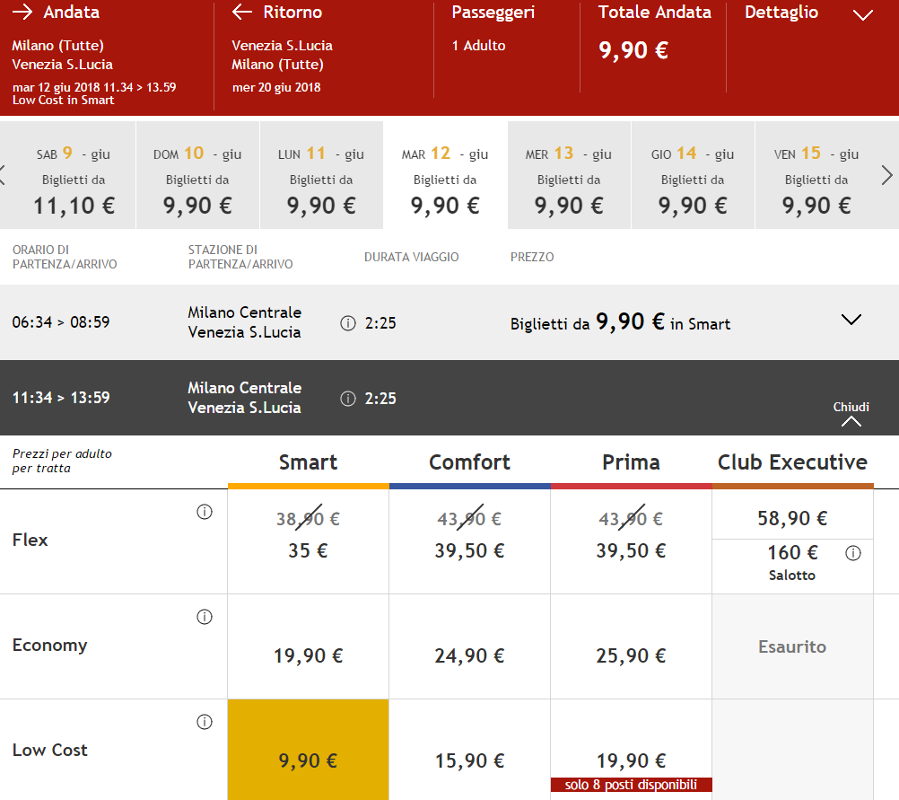 Italo: 50% скидки на поезда по Италии! Милан, Рим или Болонья в Венеции от €9,9! -