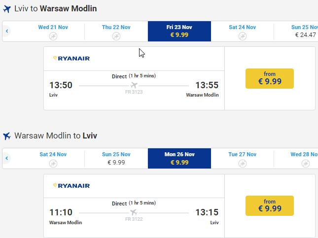 авіаквитки ryanair з україни