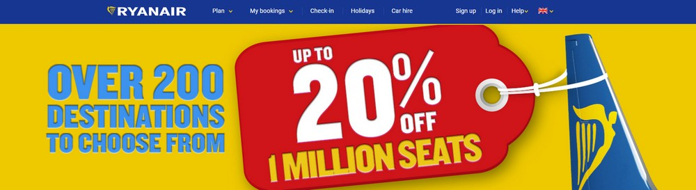 Ryanair: первый распродажу на рейсы из Украины! Скидка 20% на билеты до ноября! -