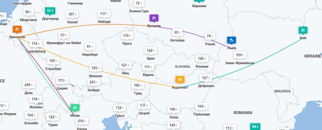 Киев – Будапешт – Брюссель – Милан – Вроцлав – Львов - 6 перелетов за €148! -
